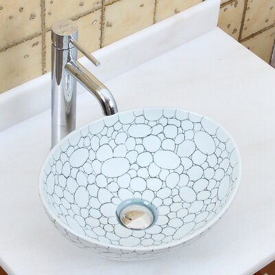 Elite Pebblestone Line Art Oval Vessel Bathroom Sink Drain Finish: Chrome