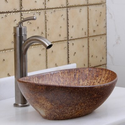 Elite Tattered Cedar Porcelain Oval Vessel Bathroom Sink Drain Finish: Brushed Nickel