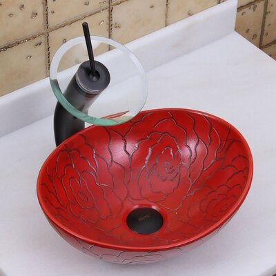 Elite Red Rose Line Art Oval Vessel Bathroom Sink Drain Finish: Oil Rubbed Bronze