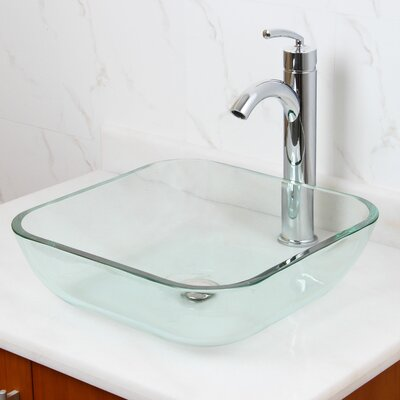 Elite Transparent Tempered Glass Square Vessel Bathroom Sink Drain Finish: Chrome