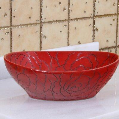 Elite Red Rose Line Art Oval Vessel Bathroom Sink Drain Finish: Brushed Nickel