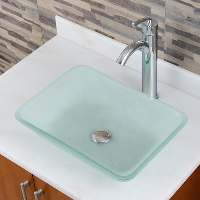 Elite Frosted Tempered Glass Rectangular Vessel Bathroom Sink Drain Finish: Chrome