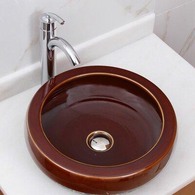 Chocolate Caramel Circular Vessel Bathroom Sink Drain Finish: Chrome