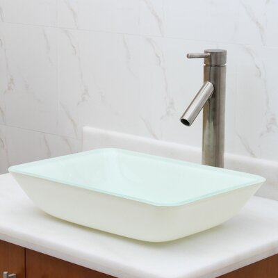 Elite Glass Rectangular Vessel Bathroom Sink Drain Finish: Brushed Nickel