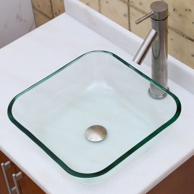 Elite Transparent Tempered Glass Square Vessel Bathroom Sink Drain Finish: Brushed Nickel