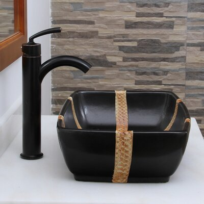 Contrasting Geometric Bamboo Rectangular Vessel Bathroom Sink Drain Finish: Oil Rubbed Bronze