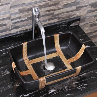Contrasting Geometric Bamboo Rectangular Vessel Bathroom Sink Drain Finish: Chrome