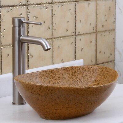 Elite Sandstone Porcelain Oval Vessel Bathroom Sink Drain Finish: Brushed Nickel