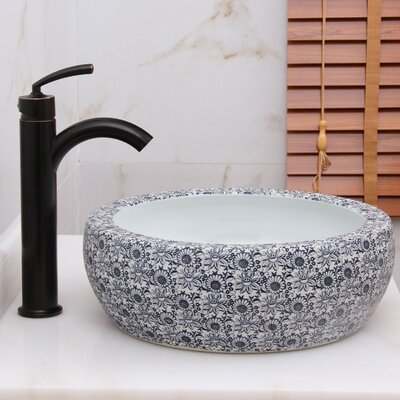 Elite Blue and White Floral Pattern Circular Vessel Bathroom Sink Drain Finish: Oil Rubbed Bronze