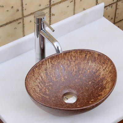 Elite Ceramic Oval Vessel Bathroom Sink Drain Finish: Chrome