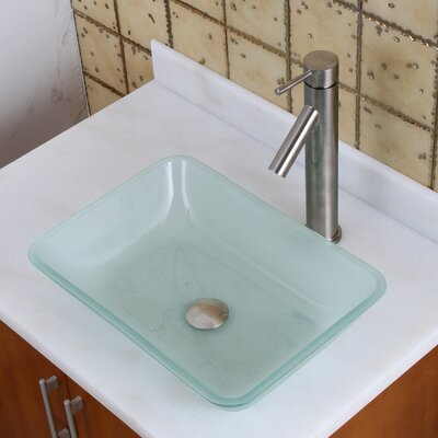 Elite Frosted Tempered Glass Rectangular Vessel Bathroom Sink Drain Finish: Brushed Nickel
