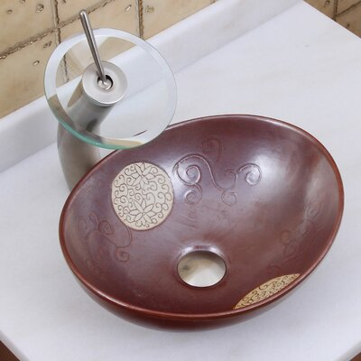 Elite Contrasting Floral Tribal Emblem Oval Vessel Bathroom Sink Drain Finish: Brushed Nickel