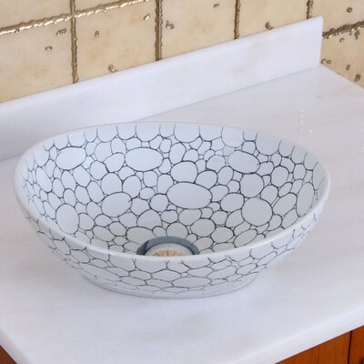 Elite Pebblestone Line Art Oval Vessel Bathroom Sink Drain Finish: Oil Rubbed Bronze