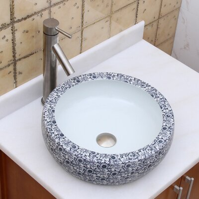 Elite Blue and White Floral Pattern Circular Vessel Bathroom Sink Drain Finish: Brushed Nickel