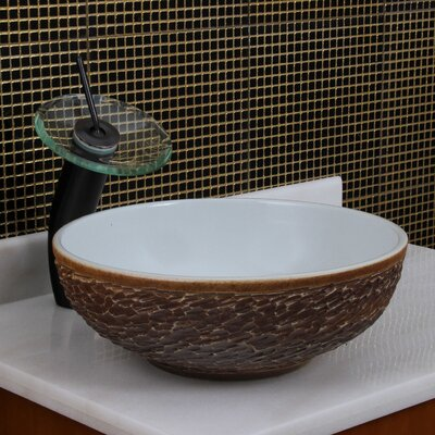 Elite Natural Rock Pattern Circular Vessel Bathroom Round Sink Drain Finish: Oil Rubbed Bronze