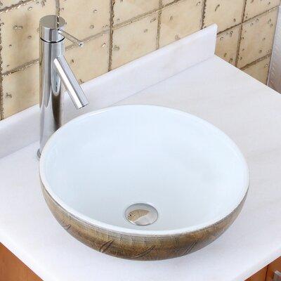 Elite Painted Autumn Leaf Pattern Circular Vessel Bathroom Sink Drain Finish: Chrome