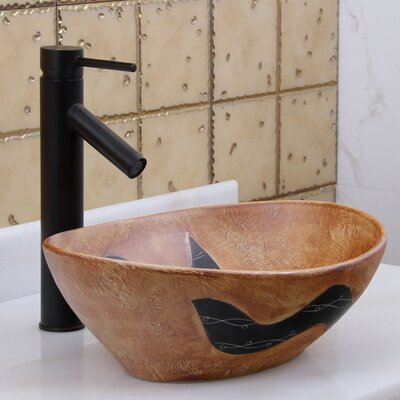 Elite Contrasting Terracotta Tribal Design Oval Vessel Bathroom Sink Drain Finish: Oil Rubbed Bronze