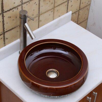 Chocolate Caramel Circular Vessel Bathroom Sink Drain Finish: Brushed Nickel