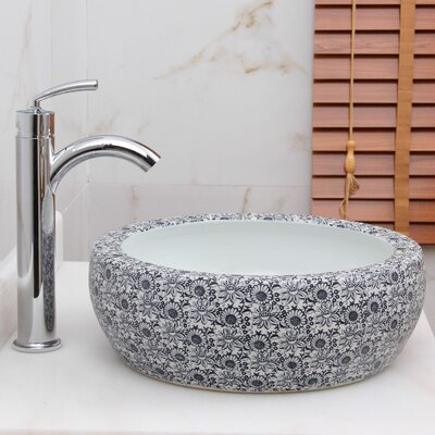 Elite Blue and White Floral Pattern Circular Vessel Bathroom Sink Drain Finish: Chrome