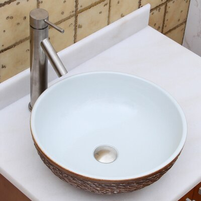 Elite Natural Rock Pattern Circular Vessel Bathroom Round Sink Drain Finish: Brushed Nickel