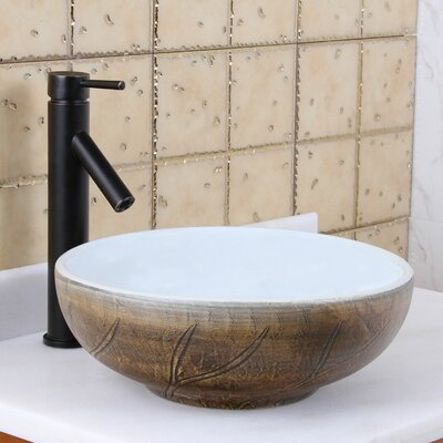 Elite Painted Autumn Leaf Pattern Circular Vessel Bathroom Sink Drain Finish: Oil Rubbed Bronze