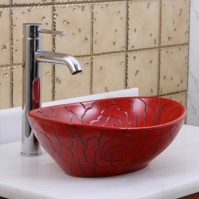 Elite Red Rose Line Art Oval Vessel Bathroom Sink Drain Finish: Chrome