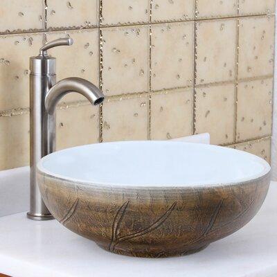 Elite Painted Autumn Leaf Pattern Circular Vessel Bathroom Sink Drain Finish: Brushed Nickel
