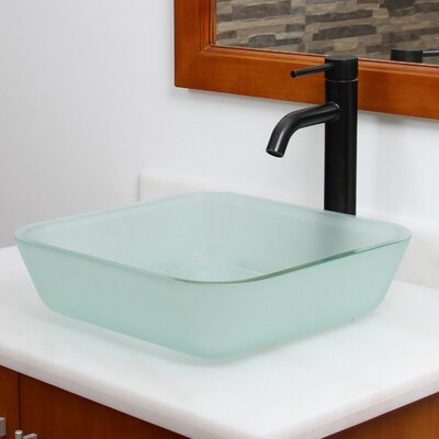 Elite Glass Square Vessel Bathroom Sink Drain Finish: Chrome