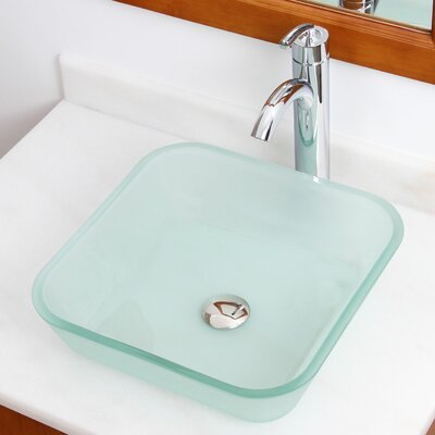 Elite Glass Square Vessel Bathroom Sink Drain Finish: Brushed Nickel