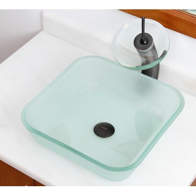 Elite Glass Square Vessel Bathroom Sink Drain Finish: Oil Rubbed Bronze