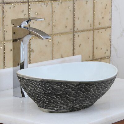 Elite Ceramic Oval Vessel Bathroom Sink Drain Finish: Chrome