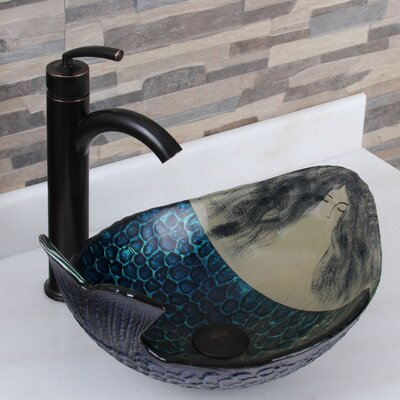 Elite Glass Oval Vessel Bathroom Sink Drain Finish: Oil Rubbed Bronze
