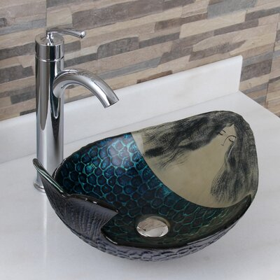 Elite Glass Oval Vessel Bathroom Sink Drain Finish: Chrome