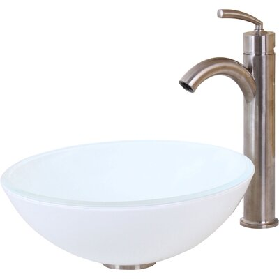 Elite Double Layered Tempered Circular Vessel Bathroom Sink Drain Finish: Brushed Nickel