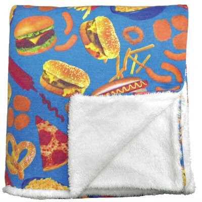 Junk Food Sherpa Lined Throw Blanket
