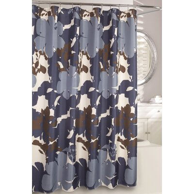 Painted Botanical Fabric Shower Curtain Color: Navy
