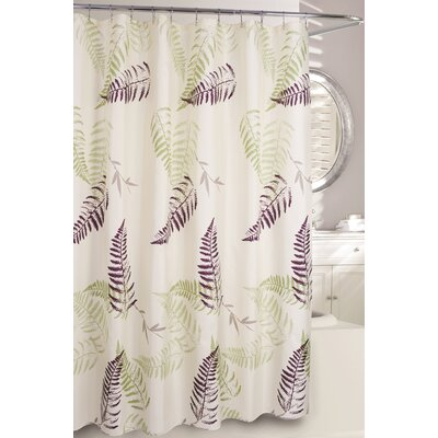 Fern Frond Fabric Shower Curtain Color: Cream