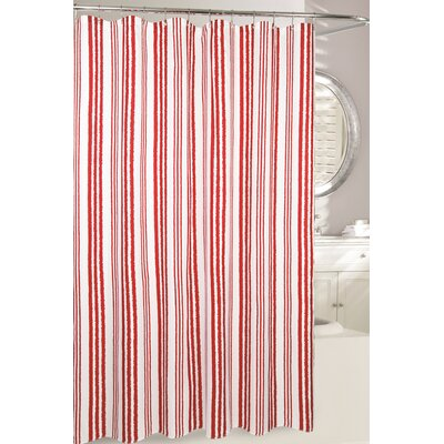 Weekend Stripe Fabric Shower Curtain Color: Red