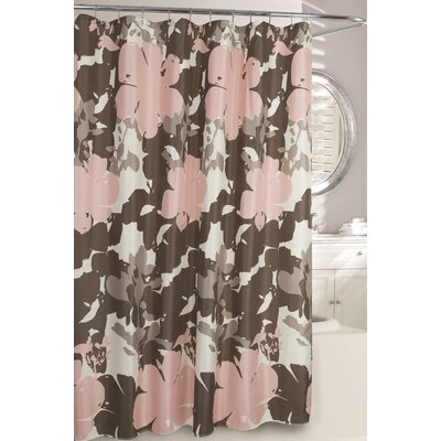 Painted Botanical Fabric Shower Curtain Color: Rose