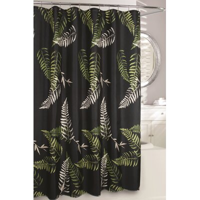 Fern Frond Fabric Shower Curtain Color: Black