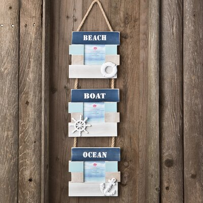 3 Piece Beach Boat and Ocean Picture Frame Set