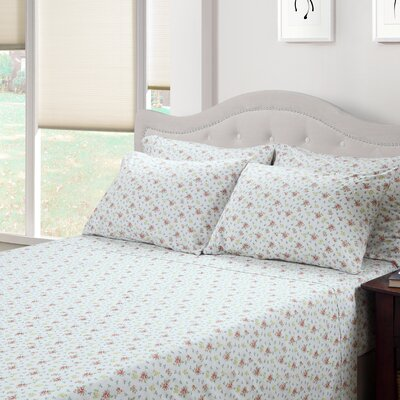 Ditsy Floral Jenna 300 Thread Count Cotton 3 Piece Sheet Set Size: Queen