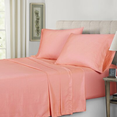Polyester Sheet Set Color: Coral, Size: Twin