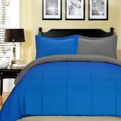 Comforter Set Color: Cobalt Blue and Gray, Size: Queen