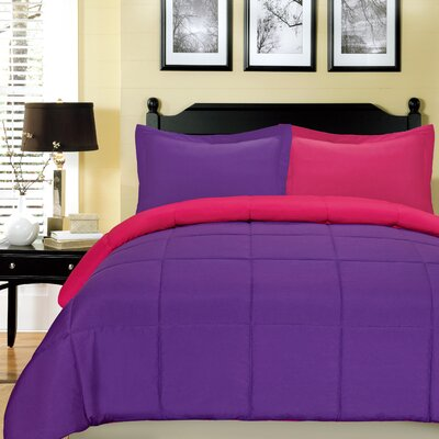 Comforter Set Size: Queen, Color: Fuchsia and Purple