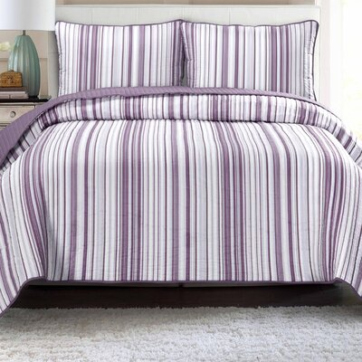 Quilt Set Color: Lavender with Gray, Size: Full/Queen