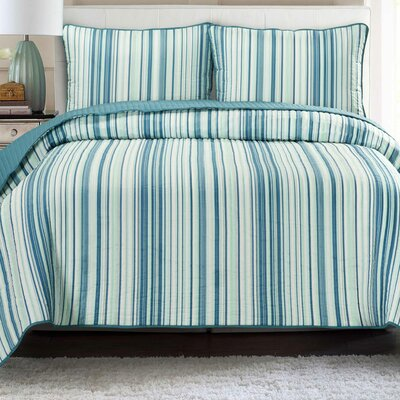 Quilt Set Color: Teal with Aqua, Size: Full/Queen