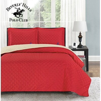 Mckenna 3 Piece Reversible Quilt Set Color: Red/Rainy Day, Size: Full/Queen
