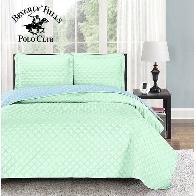 Mckenna 3 Piece Reversible Quilt Set Color: Yucca/Airy Blue, Size: Full/Queen