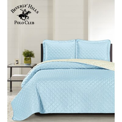 Mckenna 3 Piece Reversible Quilt Set Color: Airy Blue/Rainy Day, Size: King